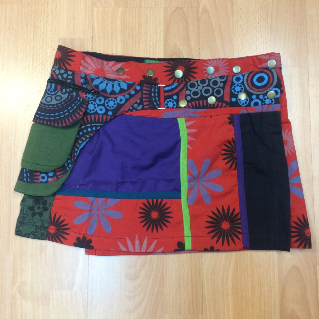 1- 100% Cotton Festival Patchwork Short Wrap Skirt - HIPPY BUDDY