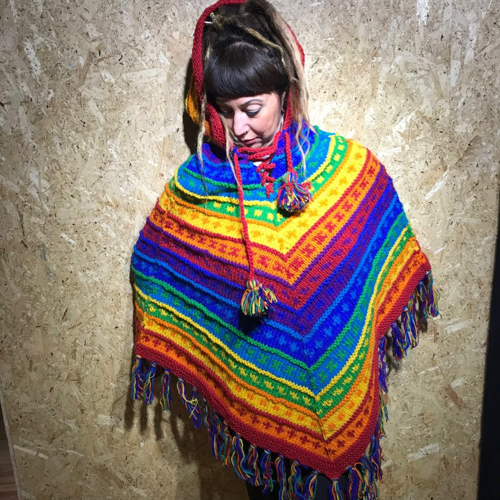100% Wool Hand Knit Rainbow Stripe Hooded Poncho by Gringo