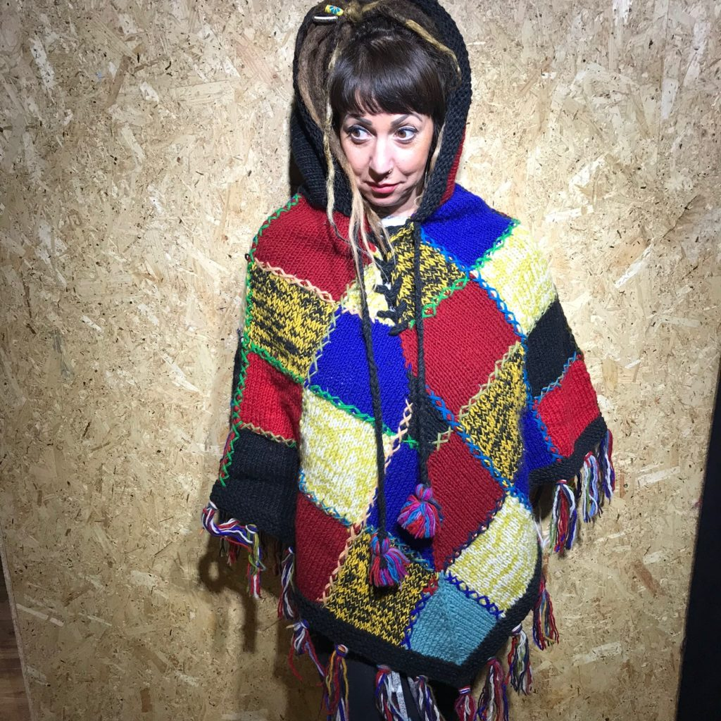 100% Wool Knitted Patchwork Poncho With Pixie Hood And Fringing by Gringo
