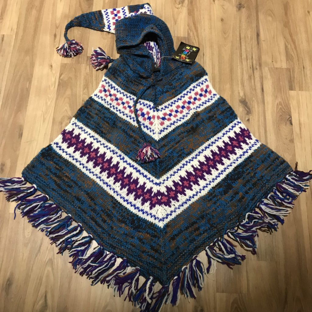 100% Wool Hand Knit Stripe Poncho With Hood by Gringo