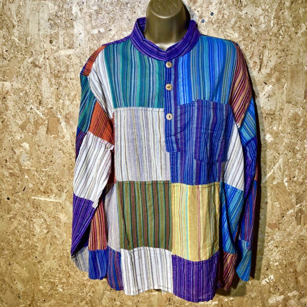 100% Cotton Nepal Stripe Patchwork Shirt by Gringo