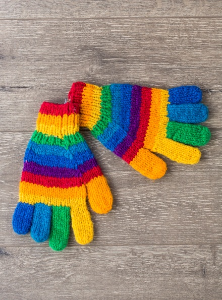 100% Wool Knitted Rainbow Gloves Gringo