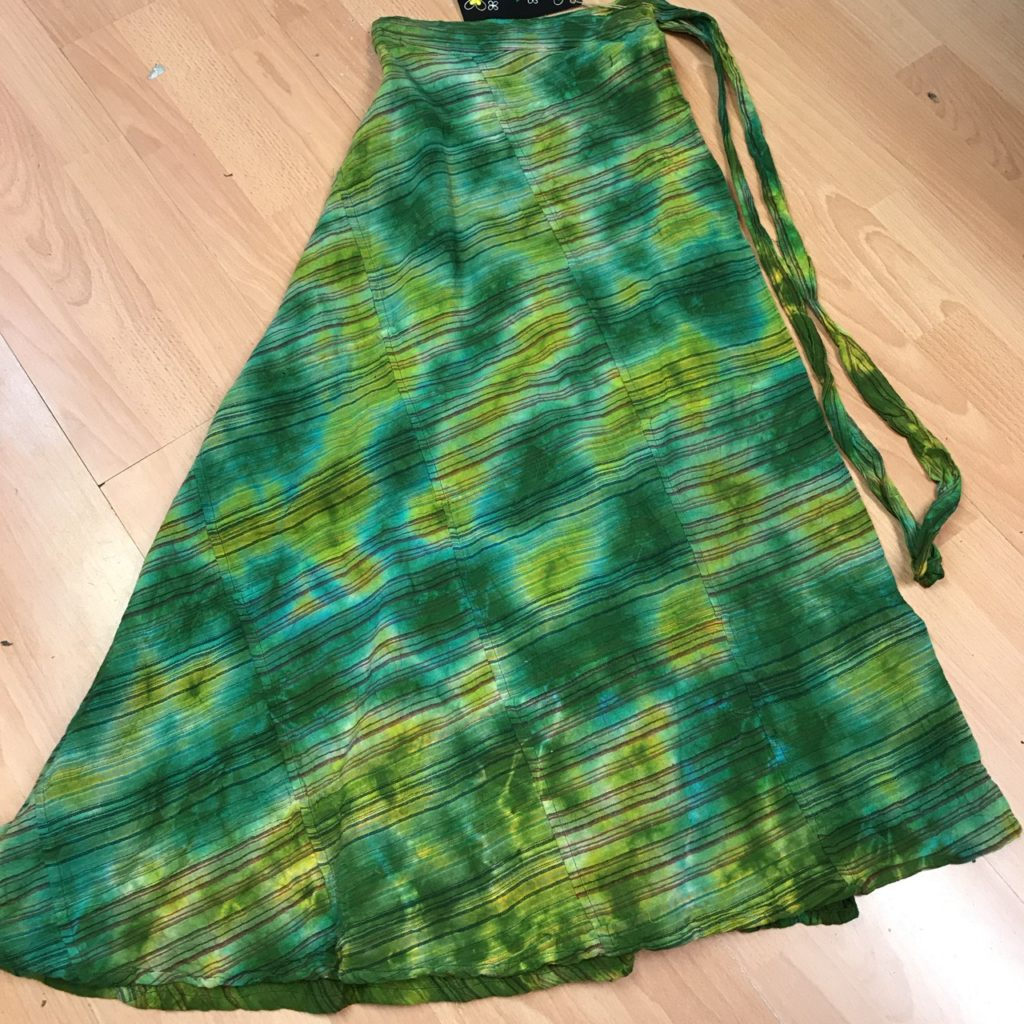 100% Cotton Tie Dye Patchwork Wrap Skirt by Gringo
