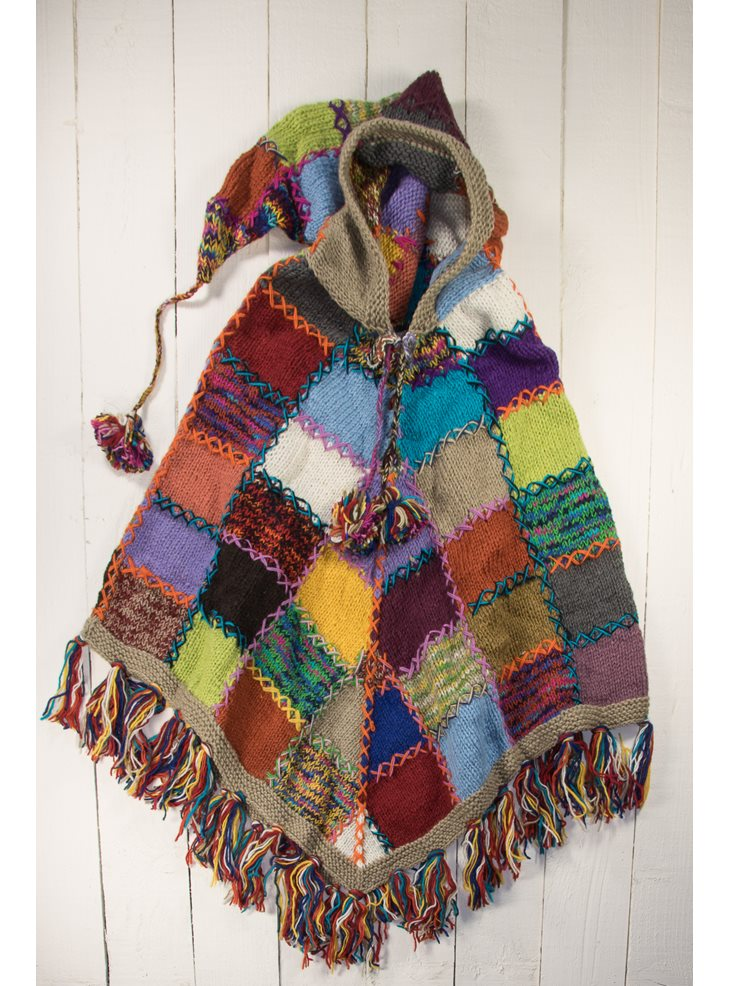 100 Wool Knitted Patchwork Poncho With Pixie Hood And