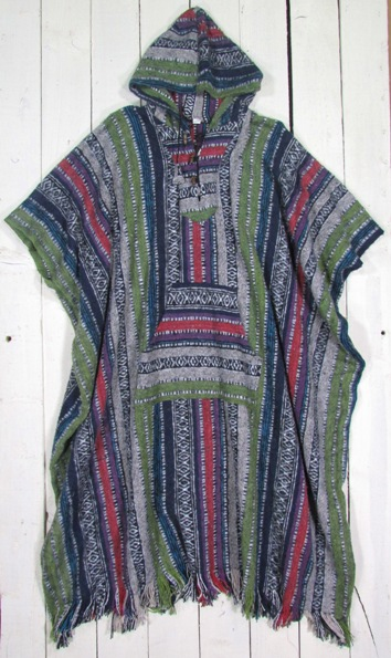 100% Brushed Cotton Gheri Stripe Long Poncho With Hood And Front Pocket by Gringo