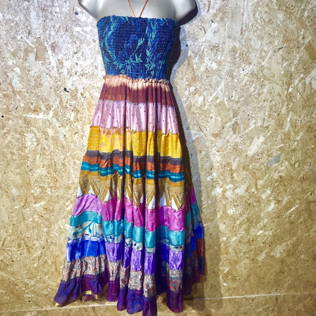 100% Recycled Sari Silk Patchwork Tiered Long Dress by Gringo