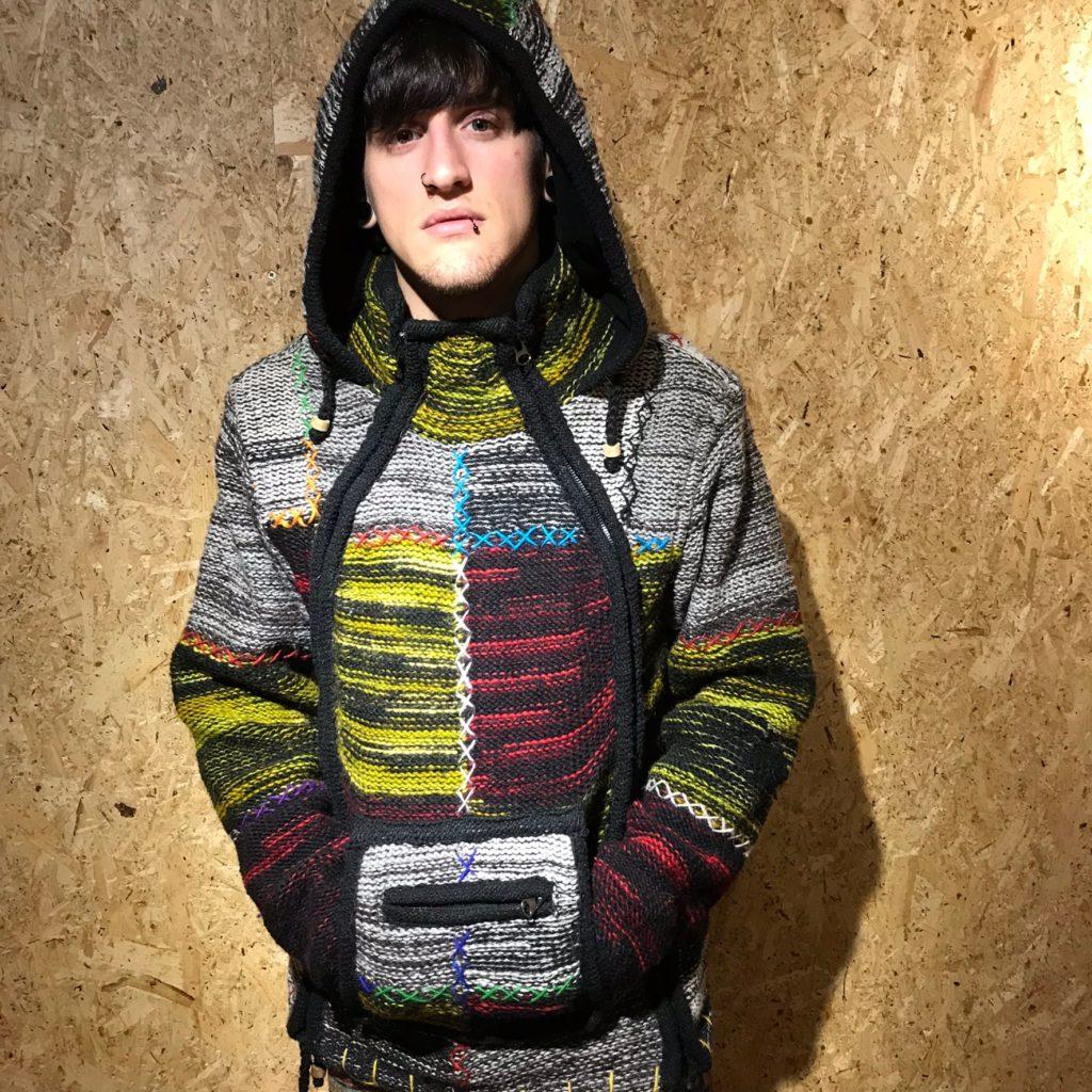 100% Wool Side Zip Patchwork Hooded Jacket by Little Kathmandu