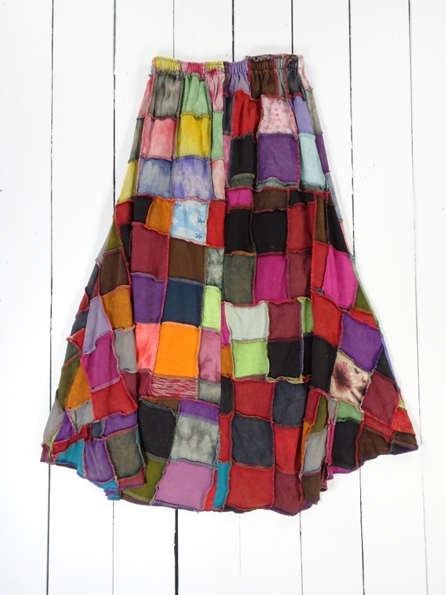 100% Cotton Rib Long Full Multi Patch Skirt Gringo