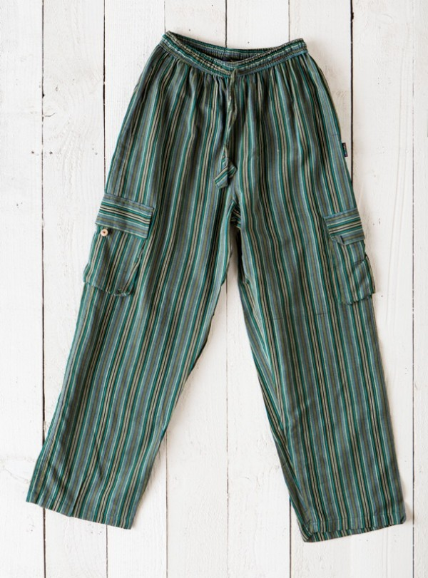 Nepalese Stripe Cotton Pants with Pockets assorted Colours
