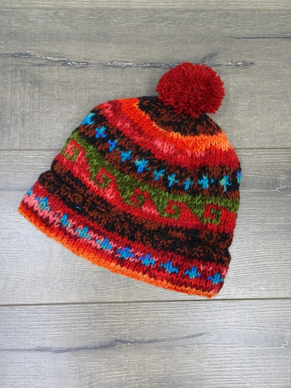 Lined Multi Coloured Pom Pom Hat - Wool