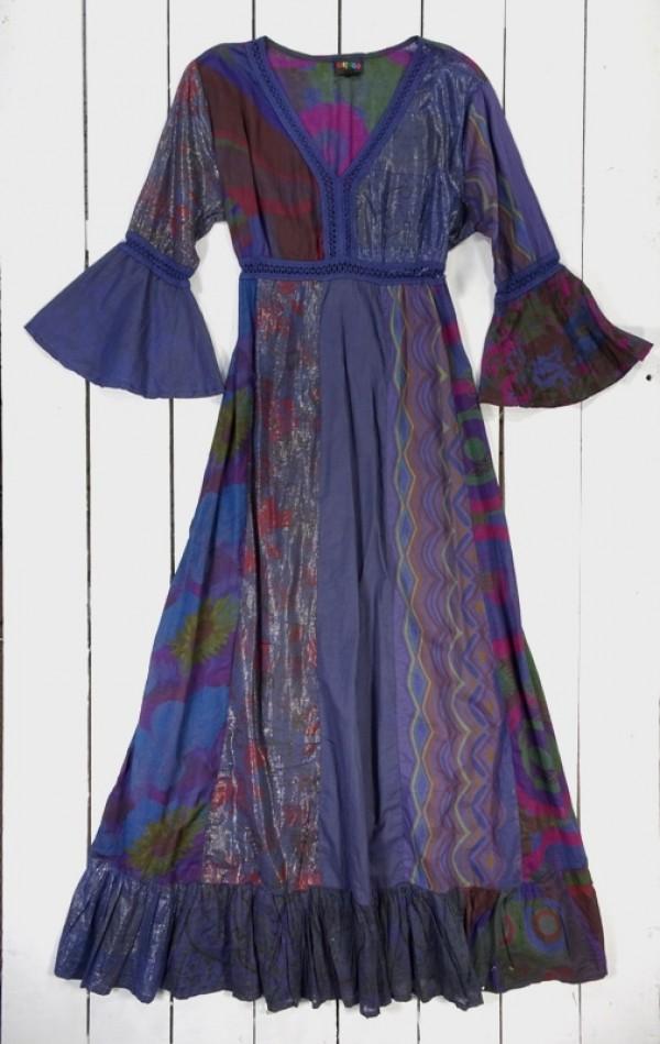 Patchwork Long Sleeve Long Dress - 100% Cotton