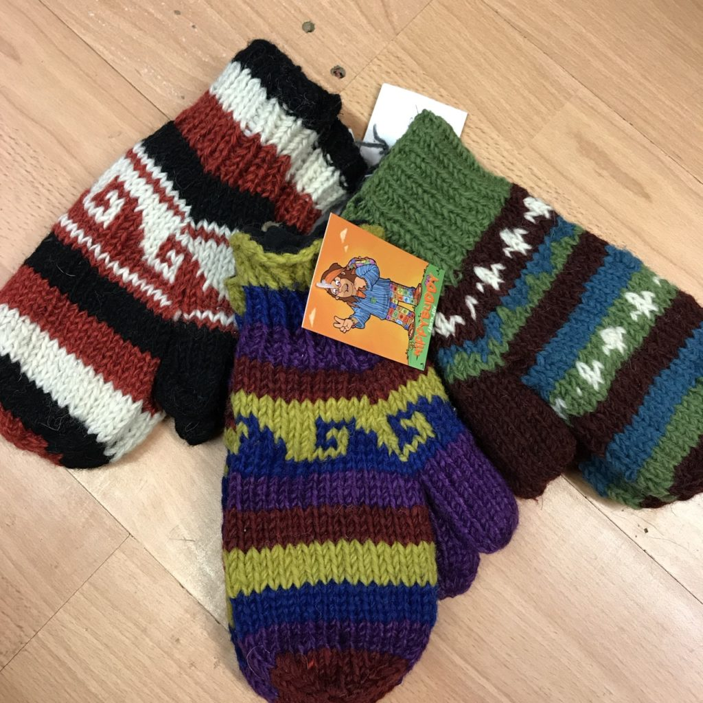 Fleece lined Assorted Nepalese Mittens One Size fits all