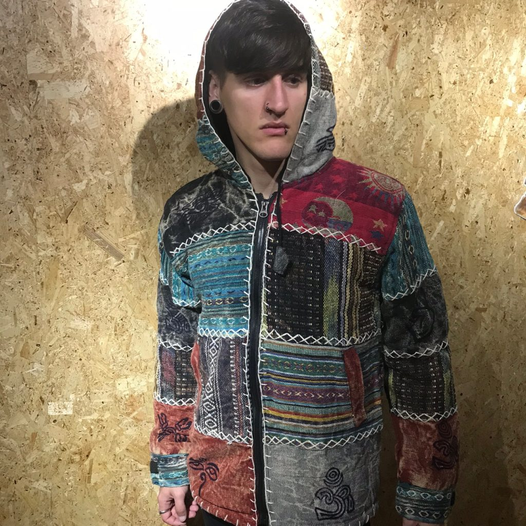 Nepalese Patchwork Stonewashed Fleece Lined Jacket