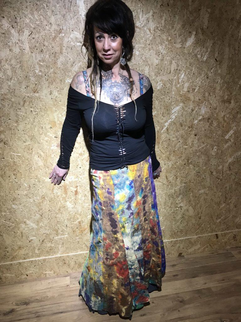 Rainbow Tie Dye Panel Wrap Long Skirt by Gringo
