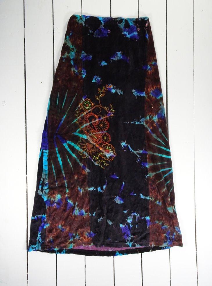 Cotton Velvet Embroidered Detail Long Skirt by Gringo
