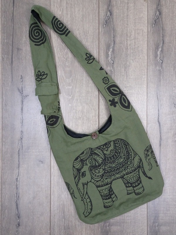 Cotton Shoulder Bag with Elephant Detail by Gringo