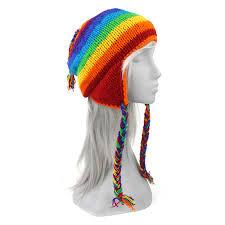100% Wool Fleece Lined Rainbow Hat