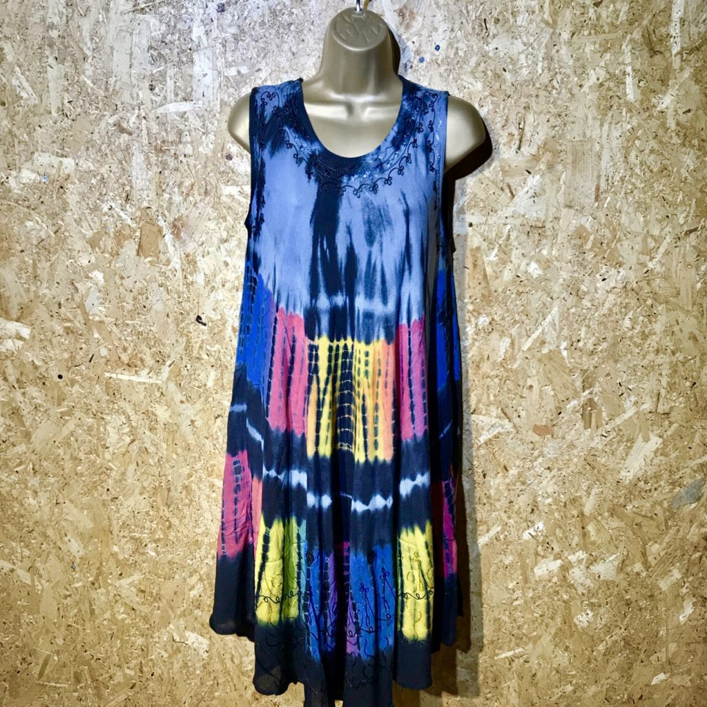 Viscose Sleeveless Tie Dye Black Dress by Gringo