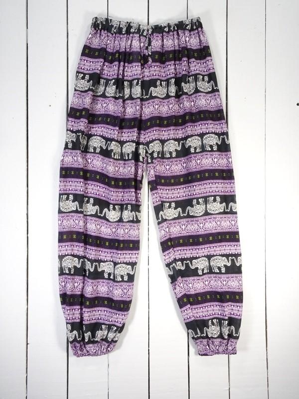 Assorted Colours Viscose Elephant Print Aladdin Pants by Gringo