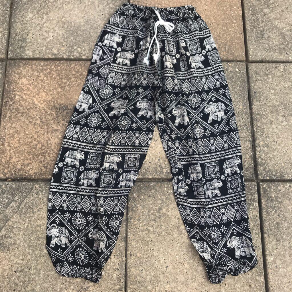 Assorted Colours Rayon Elephant Print Aladdin Pants by Gringo