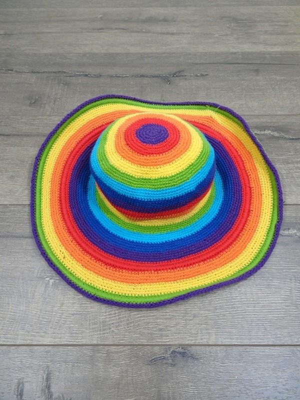 Cotton  Rainbow Stripe Wide Brim Hat by Gringo