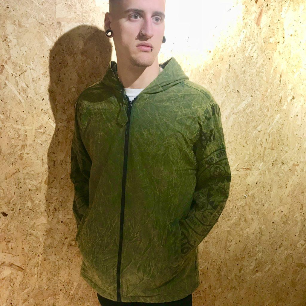 Fleece Lined Screen Print Hooded Jacket by Gringo