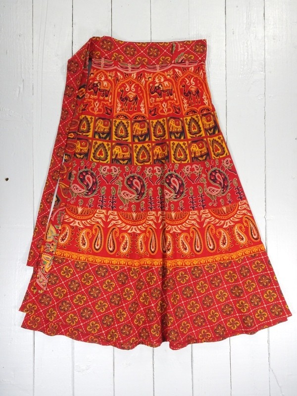 Cotton Indian Print Wrap Skirt by Gringo