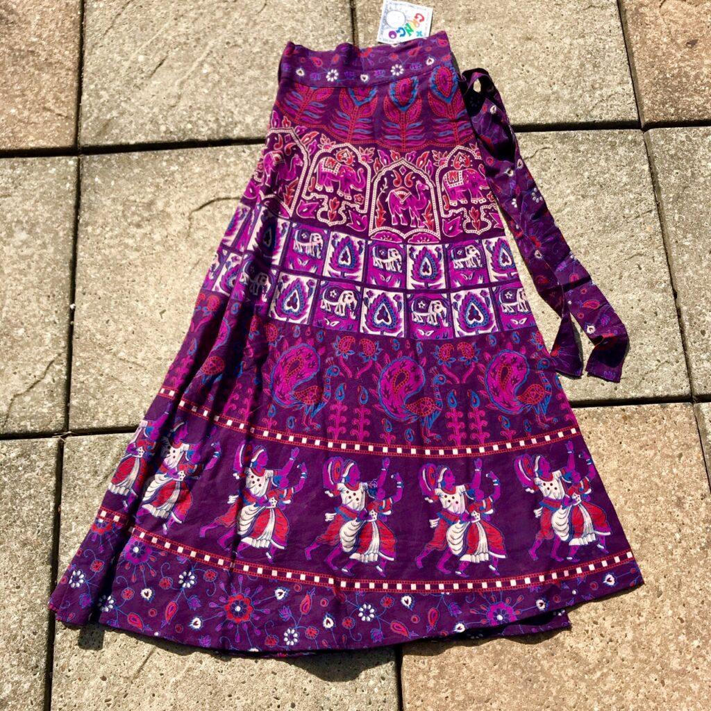 Cotton Indian Print Wrap Skirt by Gringo