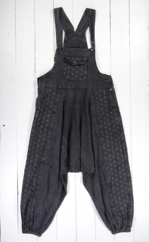 Screen Print Harem Dungarees by Gringo