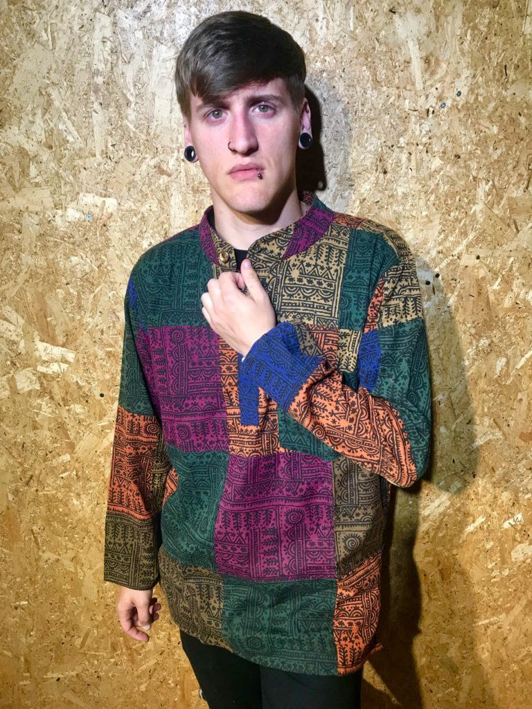 Thai Screen Print Patchwork Shirt by Namaste