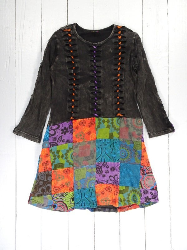 Cotton Patchwork Plaited Detail Dress by Gringo