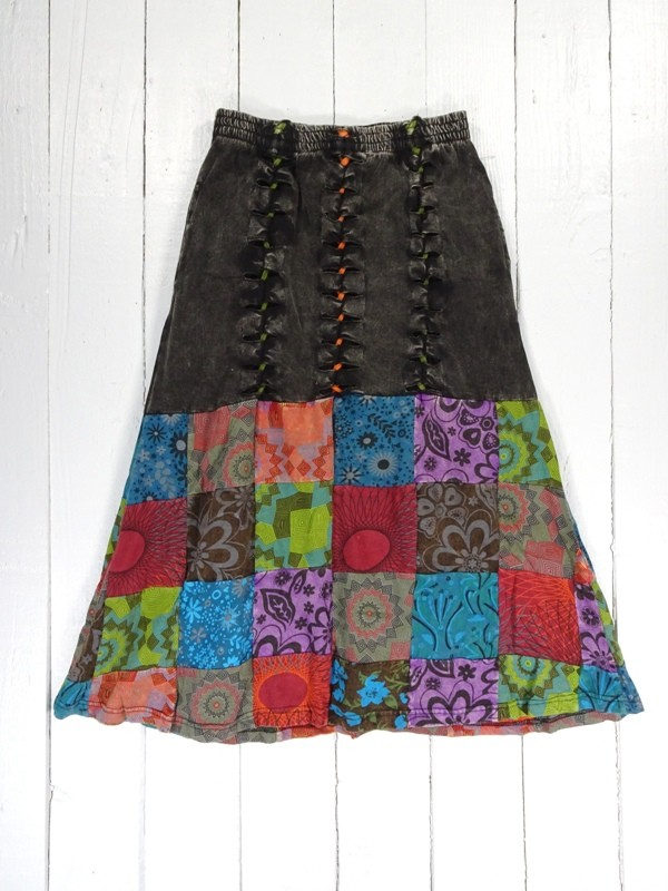 Cotton Rib Patchwork and Plait Detail Skirt by Gringo