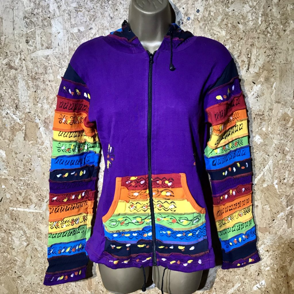 Assorted Colours Cotton Rib Rainbow Hooded Jacket by Little Kathmandu
