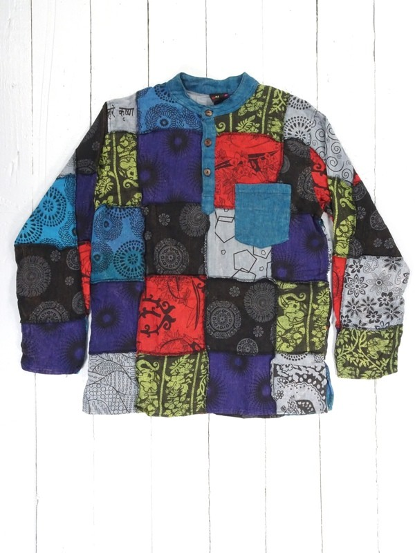 Cotton Bright Multi Patchwork Shirt by Gringo