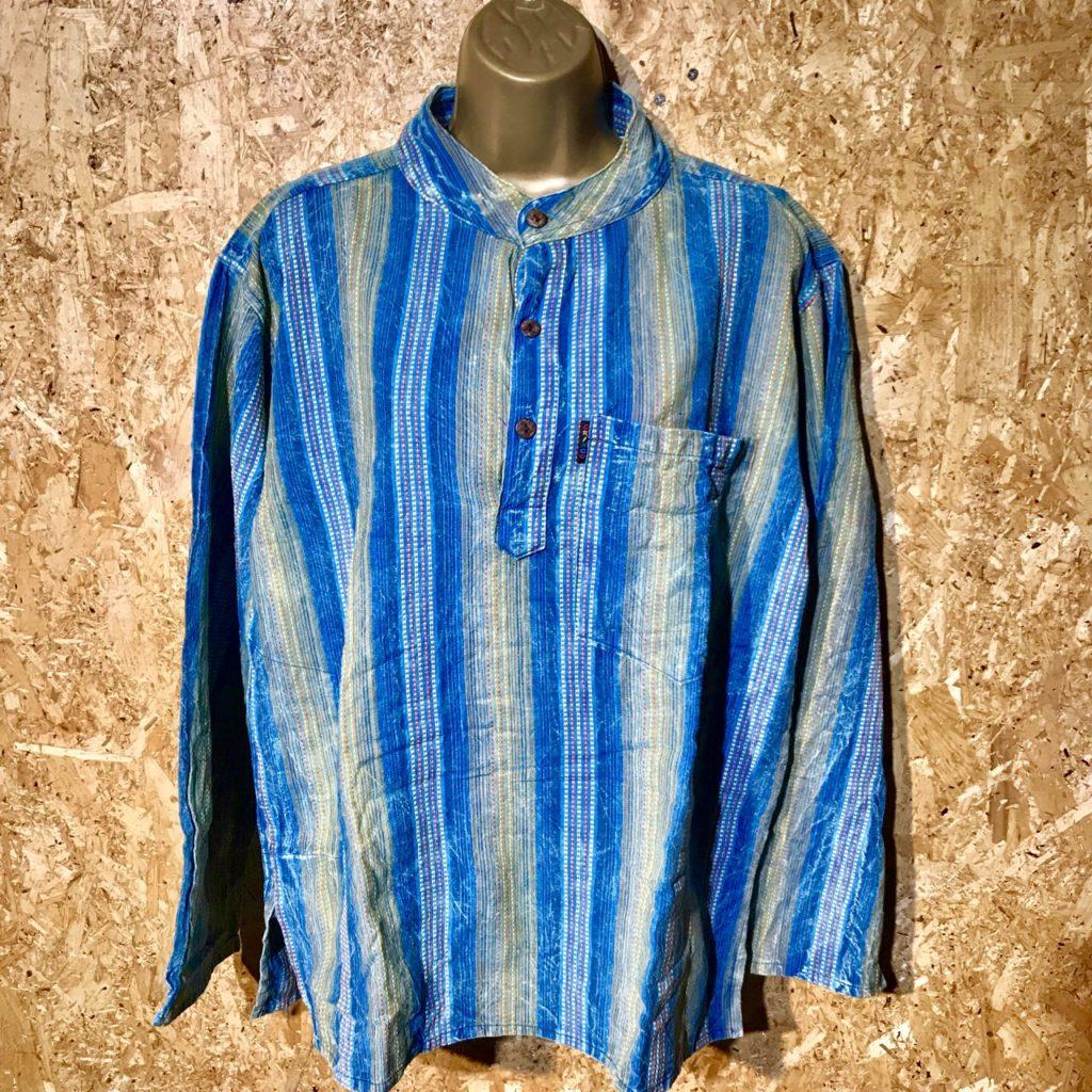Cotton Woven Grandad Collar Shirt by Gringo