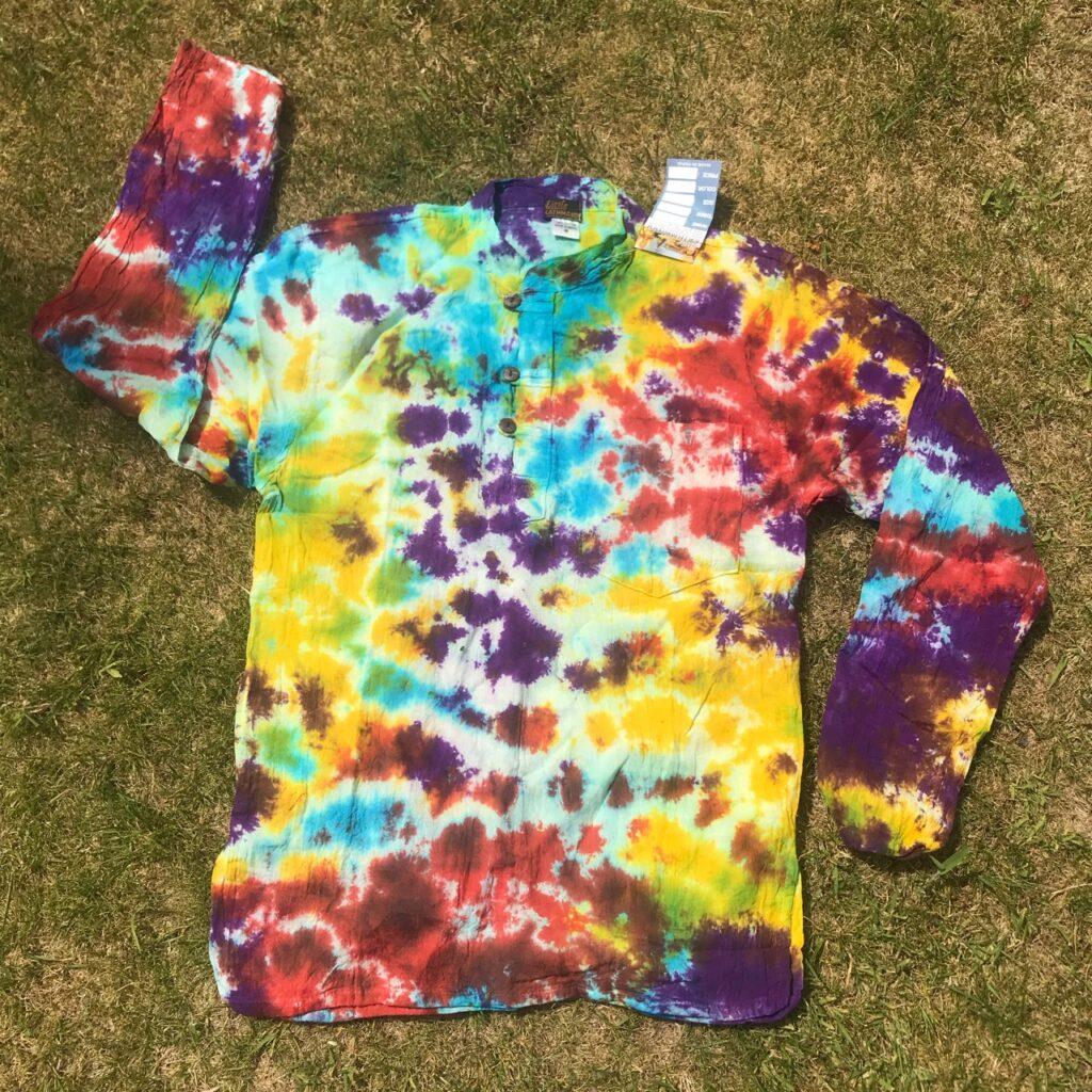 Cotton Tie Dye Grandad Collar Shirt
