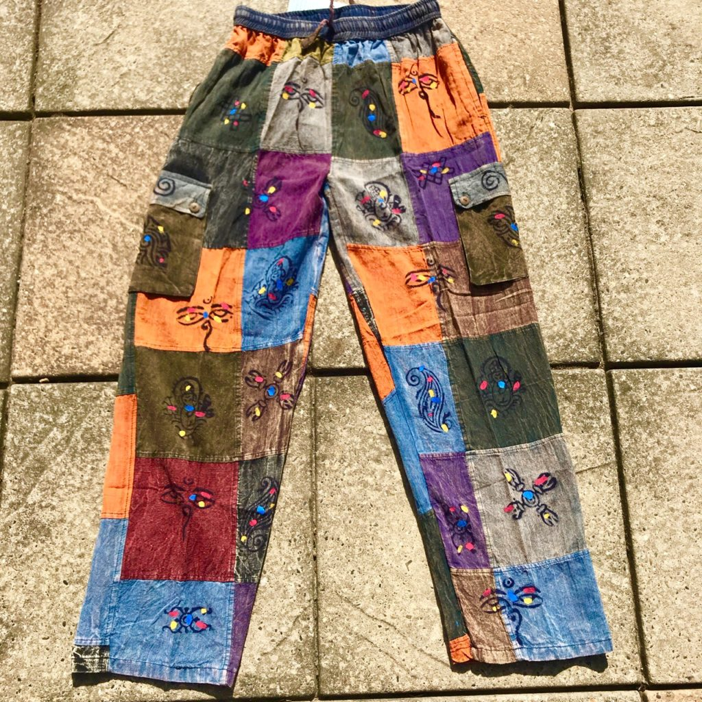 Nepalese Patchwork Pants With Screen Print Detail