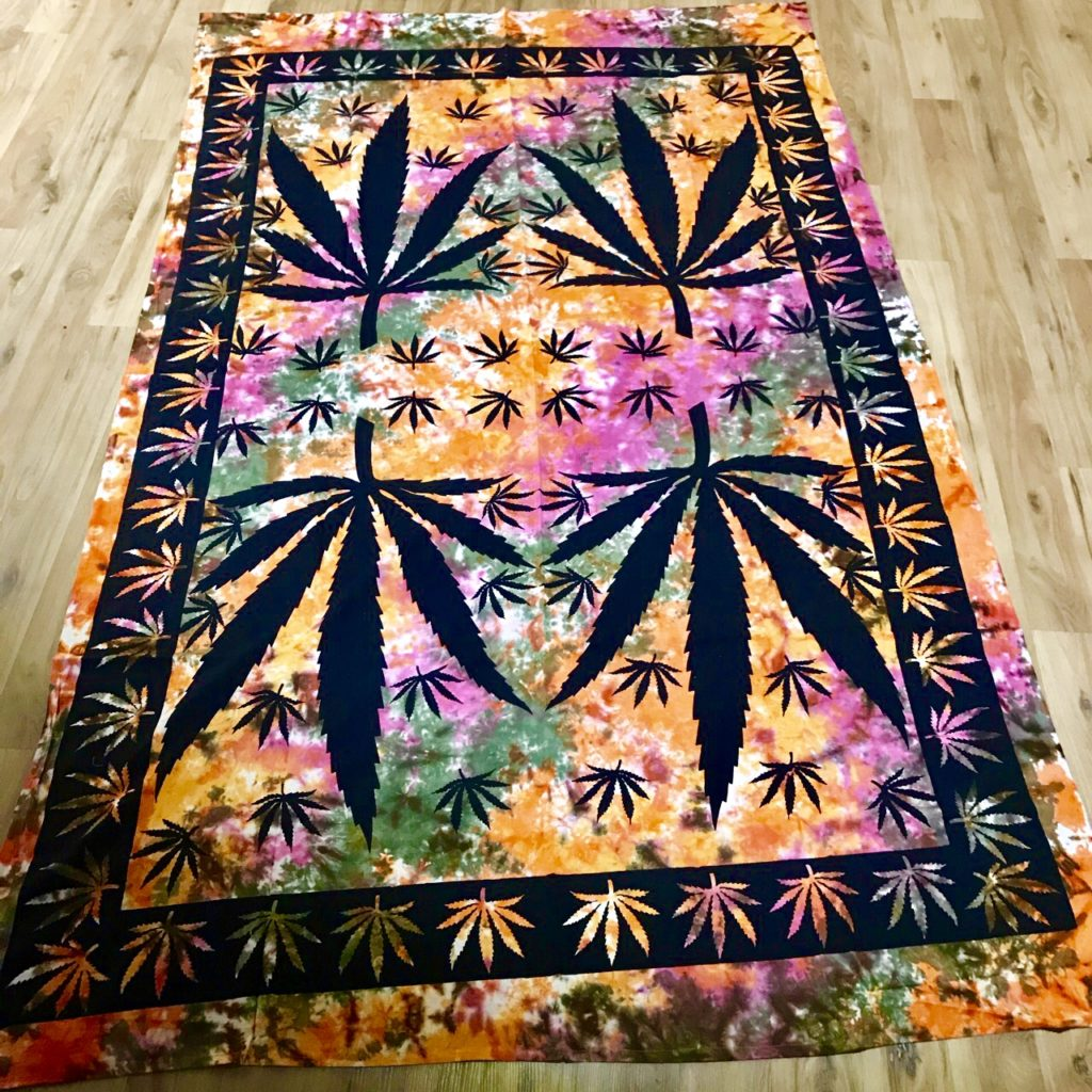 Tie Dye Ganja Leaf Double Bedcover-Wallhanging by Namaste