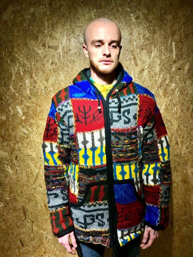 100% Wool Fleece Lined Multi Patchwork Jacket by Little Kathmandu