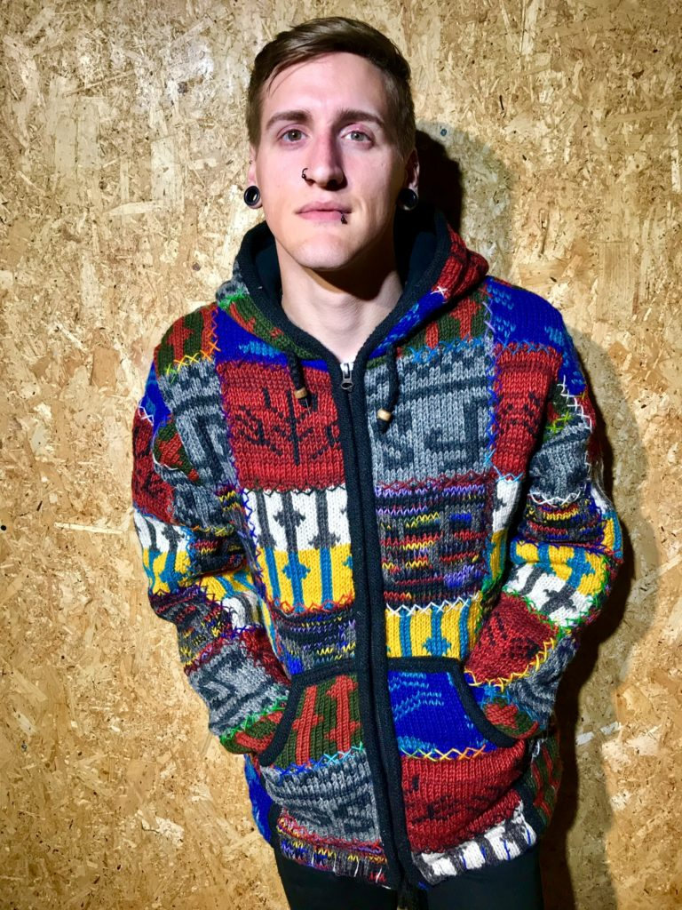 100% Wool Fleece Lined Multi Patchwork Jacket by Little Kathmandu