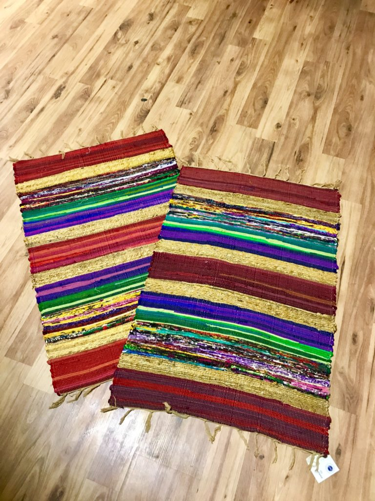 Small Recycled Silk Rag Rug 60 x 90cms by Namaste