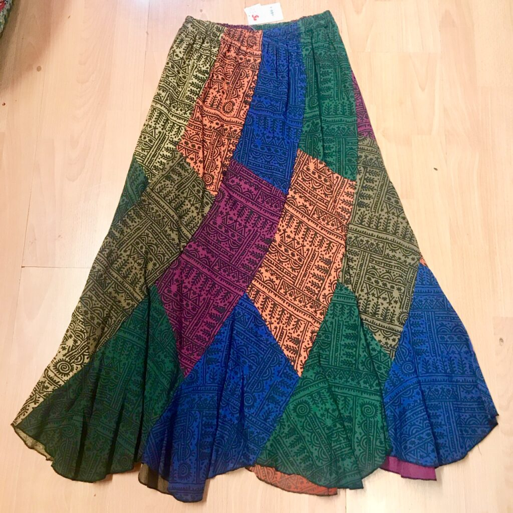 Patchwork Panel Fluted Skirt by Namaste