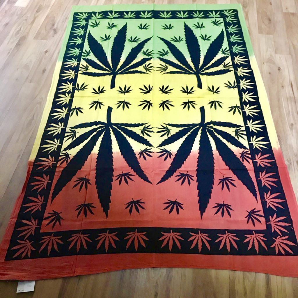 Rasta Colours Ganj Leaf Single Size Bedcover-Wallhanging by Namaste