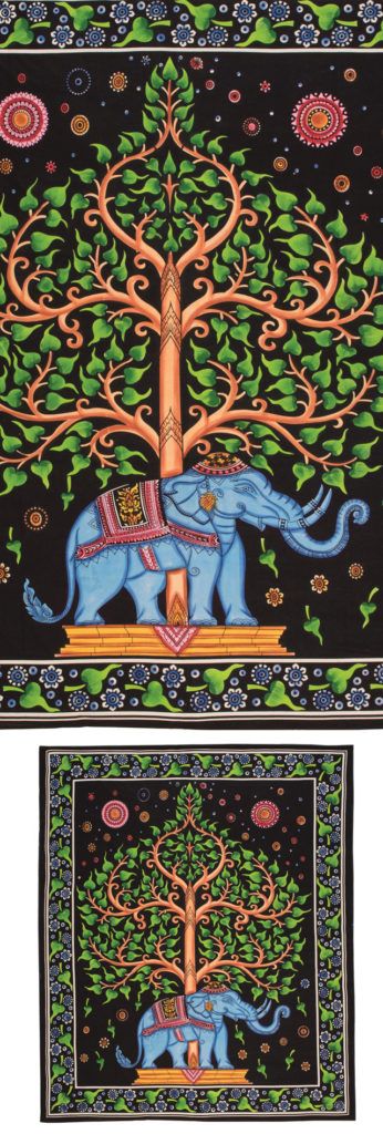 Handbrush Elephant And Tree Bedcover-Wallhanging by Namaste