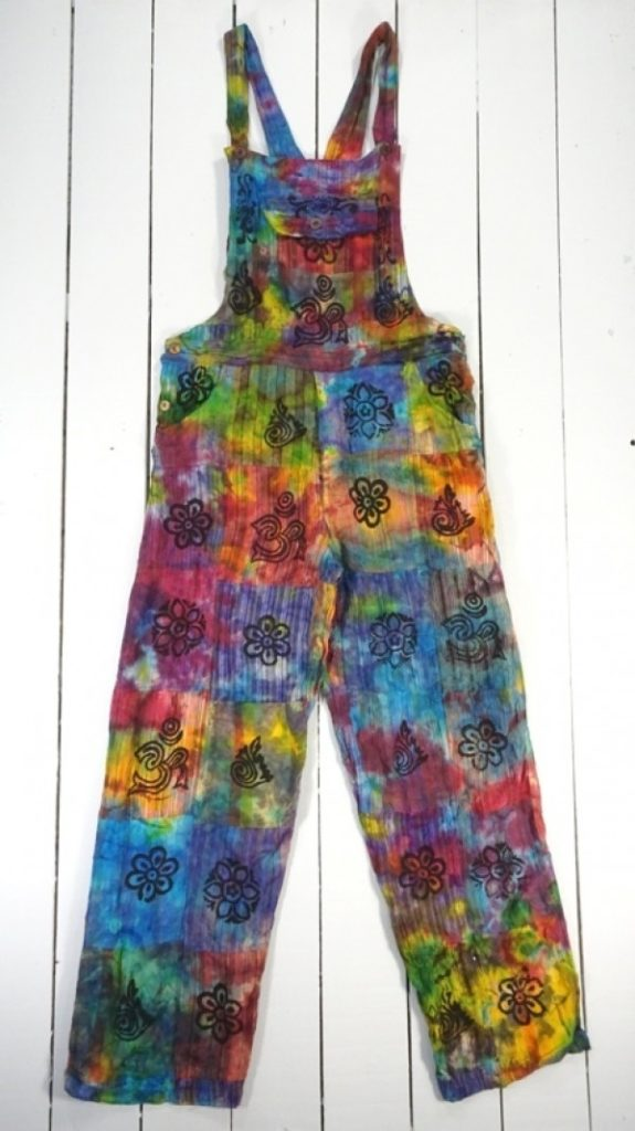 Tie Dye Patchwork Straight Leg Dungarees by Gringo