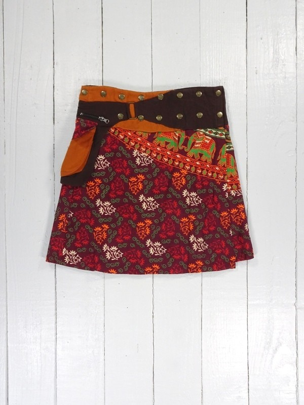 Cotton Indian Print Short Popper Skirt by Gringo