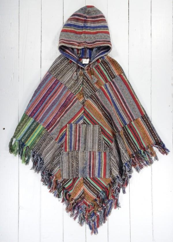 Gheri Cotton Patchwork V Shape Poncho by Gringo
