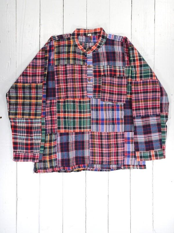 Brushed Cotton Patchwork Grandad Shirt by Gringo