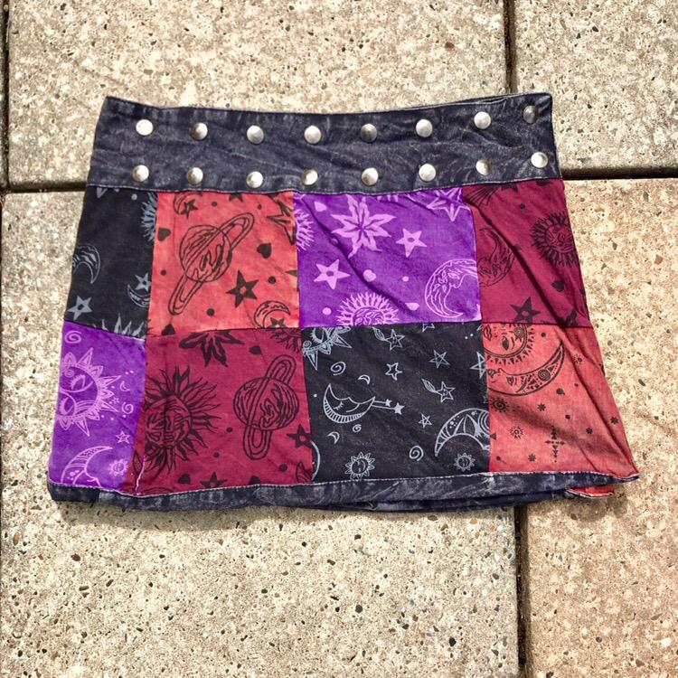 Cotton Sinka Patchwork Screen Print short popper Wrap Skirt by Gringo
