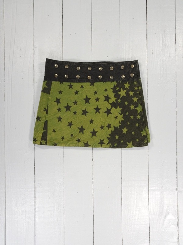 Cotton Short Wrap Skirt With Star Screen Print Detail by Gringo